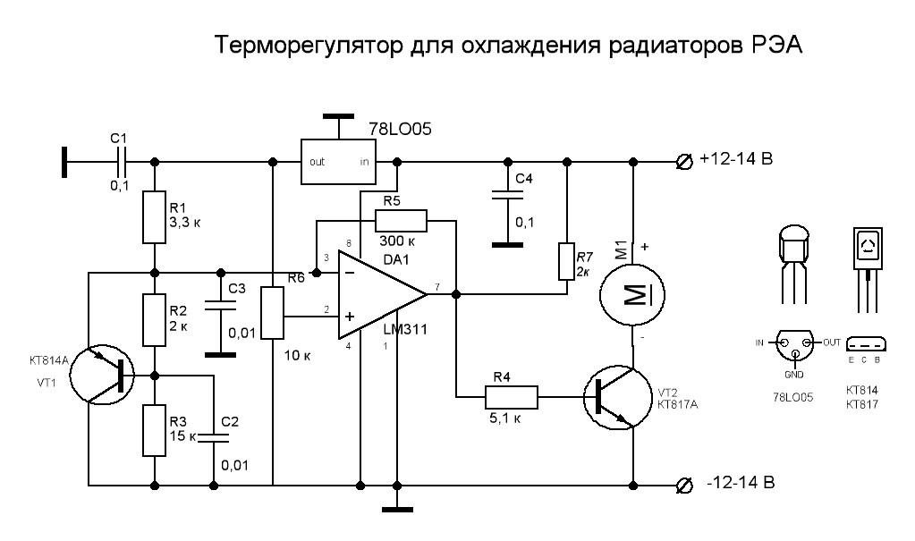 Терморегулятор предназначен для управления вентиляторами в системе охлаждения радиаторов РЭА.