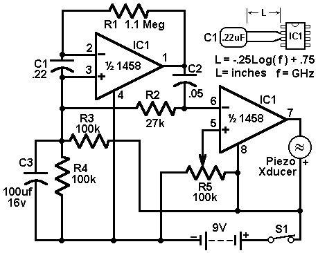 В основе схемы лежит использование сдвоенного ОУ типа 1458.  С1 в схеме является детектором СВЧ излучений.